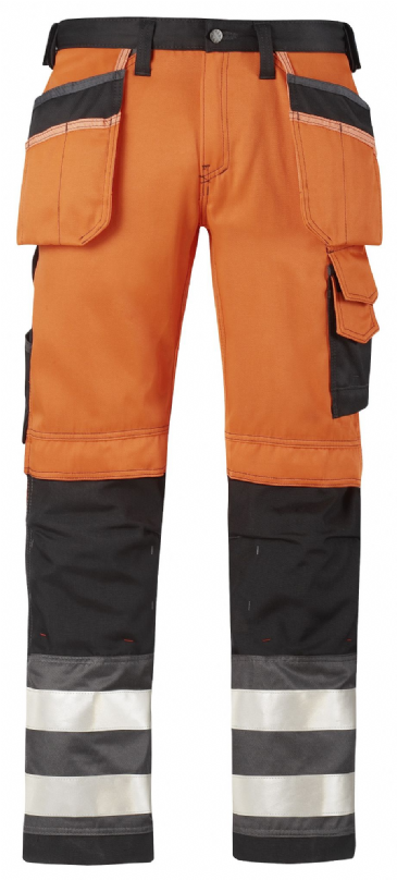 Snickers 3233 High-Vis Holster Pocket Trousers, Class 2 (High Vis Orange / Muted Black)